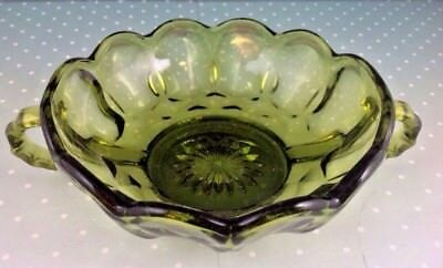 Green  Candy Dish Trophy Handles Scalloped Edges Vintage Pressed Scalloped edge