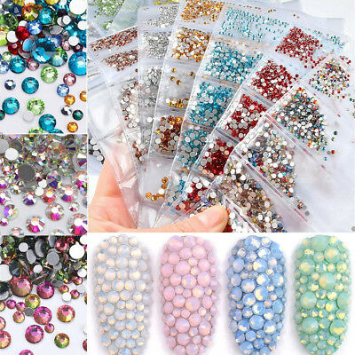 1440pcs Nail Art Rhinestones Glitter Gems AB Color Opal 3D Tips DIY Decoration