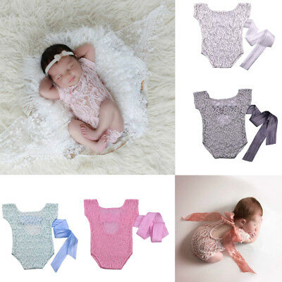 Newborn Infant Baby Lace Romper Bow Back Bodysuit Photo Photography Prop