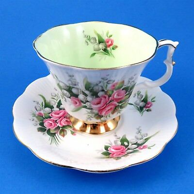 Royal Albert Lily of the Valley and Pink Roses Tea Cup and Saucer Set