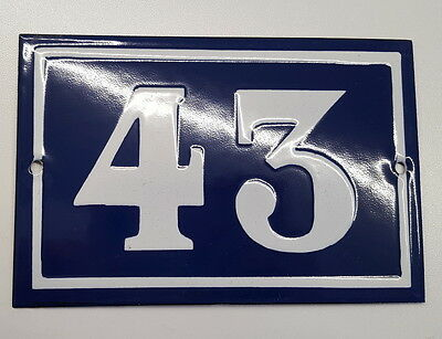 ANTIQUE FRENCH ENAMEL HOUSE NUMBER SIGN Door gate plaque street plate 43