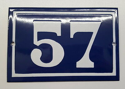 ANTIQUE FRENCH ENAMEL HOUSE NUMBER SIGN Door gate plaque street plate 57