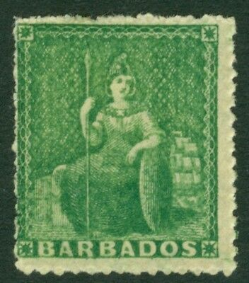 SG 21 Barbados 1861-70. (½d) green. Fine mounted mint CAT £29