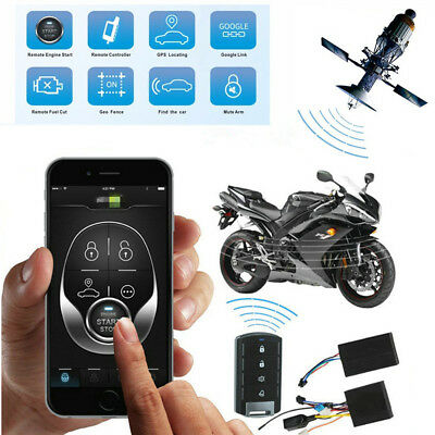 Motorcycle GPS Tracker Engine Start Keyless Entry Alarm System One Way Remote