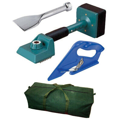 4 Pc Carpet Fitting Tool Kit - Green Knee Kicker / Bolster / Cutter / Canvas Bag