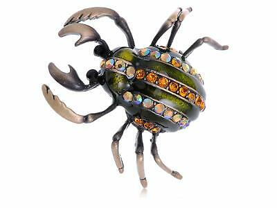Antique Gold Tone Egyptian Vintage Pincher Scarab Insect Beetle Bug Brooch Pin