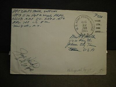 APO 788 PAYNE FIELD, HELIOPOLIS, EGYPT 1944 Censored WWII Army Cover 1264th AAF
