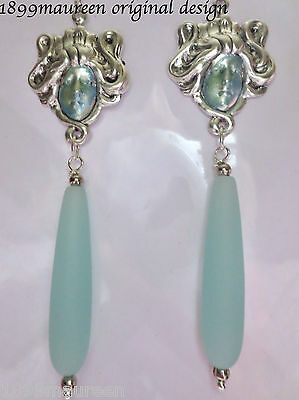 Art Nouveau Art Deco earrings sea glass Edwardian 1920s vintage style goddess