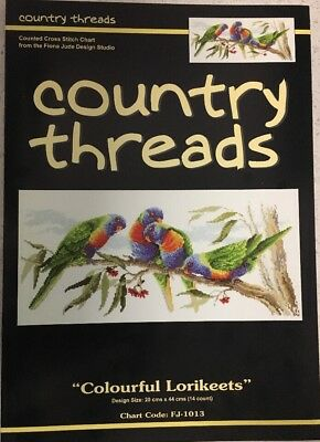 "Country Threads ""Colourful Lorikeets"" Cross Stitch Chart Pattern by Fiona Jude"