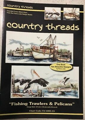 "Country Threads ""Fishing Trawlers & Pelicans "" Cross Stitch Chart Pattern Fiona"