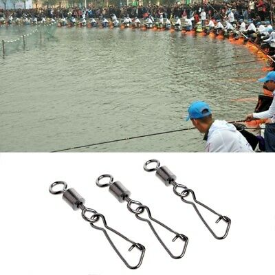 50pcs/lot Fishing Swivels Stainless Steel Rolling Swivel With Hooked Snap 50 PCS