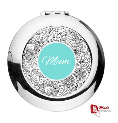 Personalised Compact Mirrors - Round, CHOOSE FROM 7 DESIGNS - ANY NAME