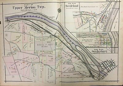 1912 Upper Merion Twp Montgomery Co Norristown Swedburg Swedeland Pa. Atlas Map