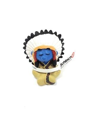 Smurfs 20556 Indian Chief Smurf Native American Figure PVC Toy Vintage Figurine