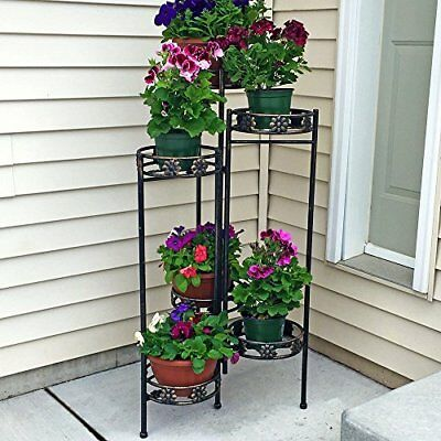 Sunnydaze 6-Tiered Indoor/Outdoor Folding Plant and Flower Stand 45 Inch Tall