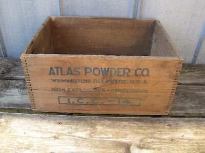 Vintage Atlas Powder Co High Explosives Dynamite TNT Wood Box Wooden Crate B8244