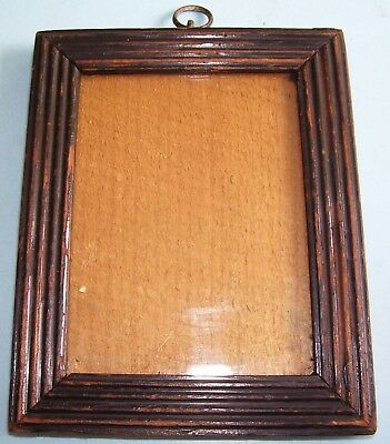 RARE ANTIQUE Lt.GEORGIAN MINIATURE EBONIZED REEDED PICTURE FRAME OLD GLASS C1830