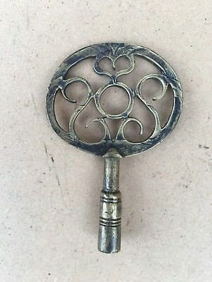 Unusual Solid Brass Bracket Clock Key With Engraved Bow