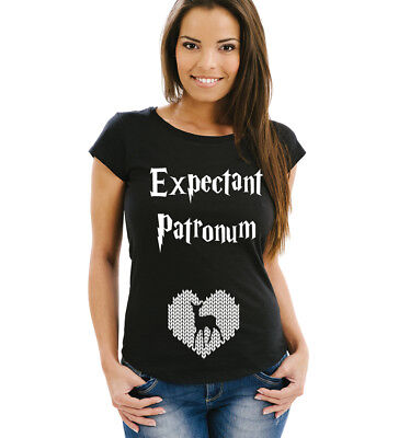 345a18146fb7a Expectant Patronum pregnancy reveal women's black t-shirt with heart and elk