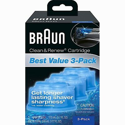 Braun Clean and Renew Cartridge CCR-Series 3 5 7 9-Cleaning Solution-3 Pack-NEW!