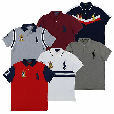 Polo Ralph Lauren Big Pony Custom Slim Fit Polo Shirt Mesh Knit Crest Logo New