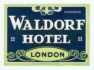 AUTHENTIC RARE 1920s Deco Luggage Label Hotel London Signed Sir Causton Sticker
