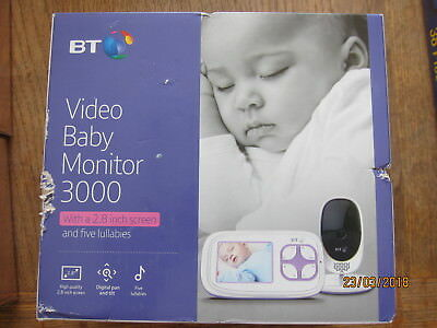 new BT VIDEO BABY MONITOR 3000 2.2in screen & five lullabies