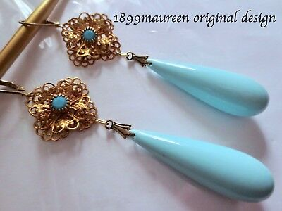 Art Nouveau earrings vintage style Art Deco statement earrings blue drop