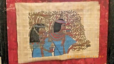 Framed Vintage Egyptian Painting on Papyrus Rice Paper Signed~9 X 13