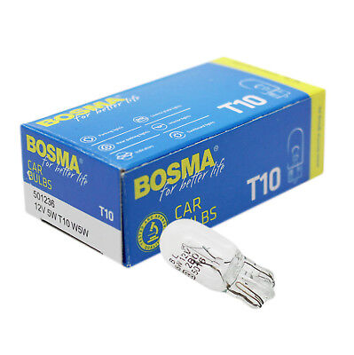 10 x Bulbs Bosma T10 W5W 12V 5W All Glass Bulb Premium with e-test Mark