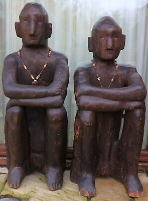 Ifugao, Philippines, Bulul - ethnic vintage wood Rice guard carvings - 1.25m +