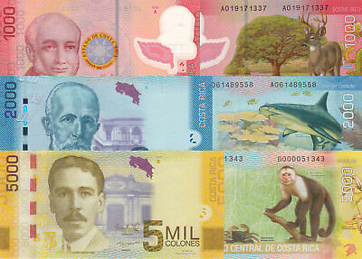 Costa Rica 3 Note Set: 1000, 2000 & 5000 Colones (2009/13) - p274a,p275b,p276b