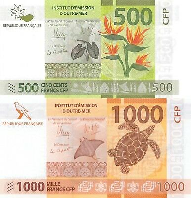 French-Pacific-Territory 2 Note Set: 500 & 1000 Francs (ND/2014) - p5 & p6