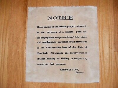 Cloth Waxy Posted Sign  , Tahawus Club Newcomb NY in Adirondack Mountains