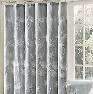 Madison Park Gwyneth Fabric Shower Curtain Grey White Chenille Floral 72 X72