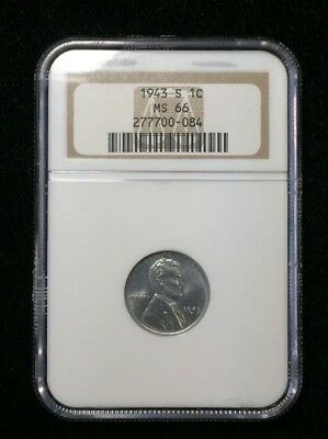 1943 S Lincoln Cent NGC MS66