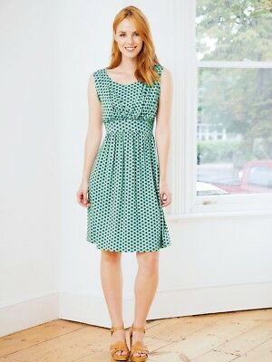 New JoJo Maman Bebe Maternity Green Navy Dot, Sleeveless Nursing Dress Small 4 6