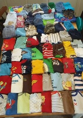 Huge 81 piece lot baby boy clothes size 3-6month & 6 month, outfits oneies etc..