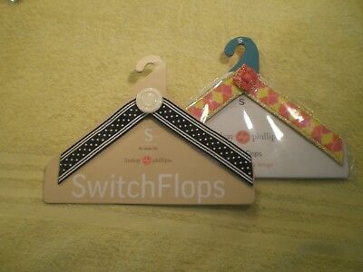NWT 2 Lindsay Phillips SMALL Switch Flops Straps Blk/Wht & Multi Color FR/SHP