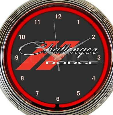 Dodge Challenger Red Neon Clock 15 Inch Office Game Room Bar Garage Home