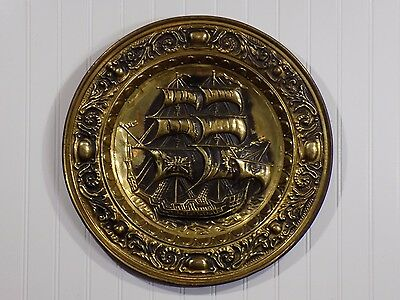 """Unique Early Vintage 17"""" Nautical Clipper Ship Brass Charger Wall Plaque England"""