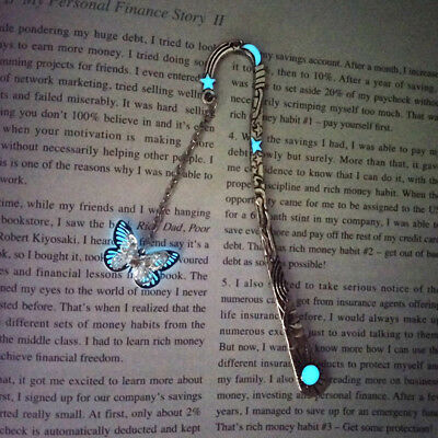 1pc Luminous Silver Feather Butterfly Bookmarks Glow in the Dark Night Light