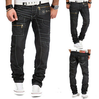 Mens New 100% Authentic Kosmo Lupo Black Jeans Pants Size 30 32 34 36 38 40