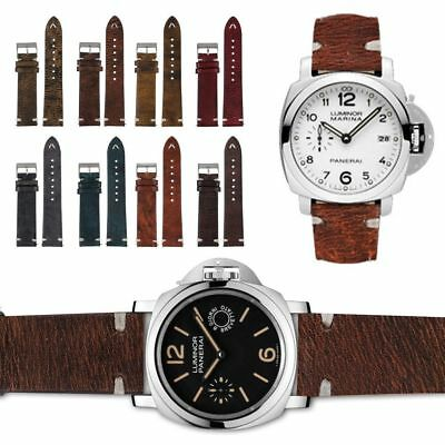 Straps Vintage Style Distressed Leather Women/Men Watch Band Strap w/Stitching