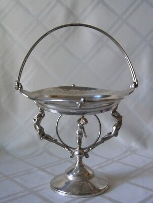 Victorian Antique Centerpiece Silver Plate Basket Figural Cherub Naked Ladies