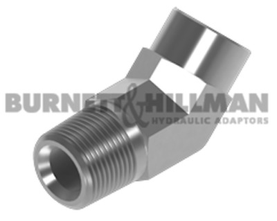Burnett & Hillman NPTF Male x NPTF Fixed Female 45° Forged Elbow Adaptor