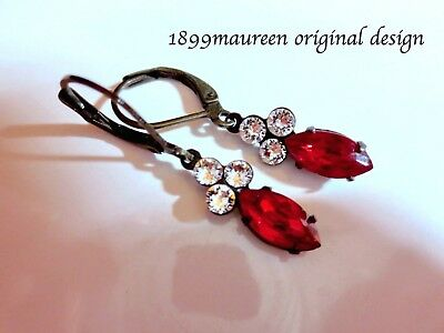 Art Nouveau Art Deco earrings red black Edwardian vintage style small