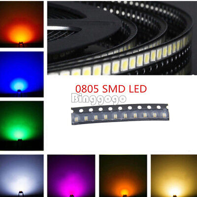 Red/Green/Blue/Yellow/White 5 Colors 0805 SMD SMT LED Light Super Bright LED NEW