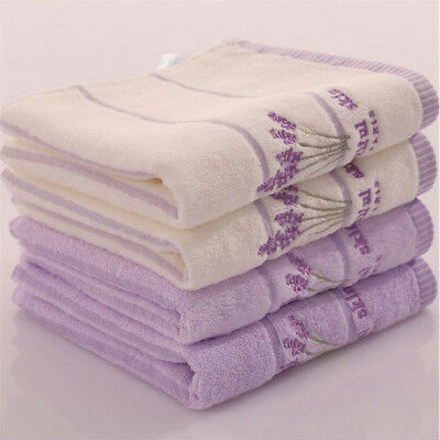 Cotton Embroidery Lavender Aromatherapy Soft Bath Hand Face Towel Sheet Set HC