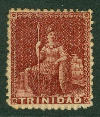 SG 64 Trinidad 1862-63. 1d lake, perf 13. Mounted mint CAT £50